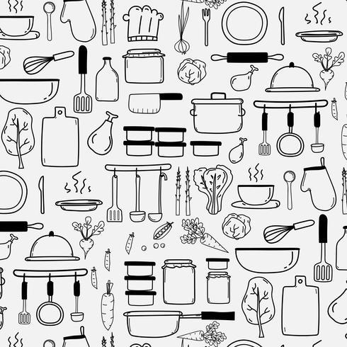 O teste padrão com linha vetor tirado mão do Doodle que cozinha o fundo inclui cozinhar matérias primas do equipamento. Ilustração vetorial.