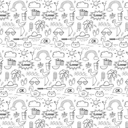 Padrão Com Fundo Do Verão Do Doodle Mão Tirada. Doodle engraçado. Ilustração vetorial artesanal. vetor