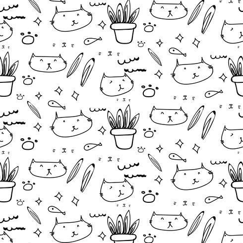 Gato bonito doodle de fundo. vetor