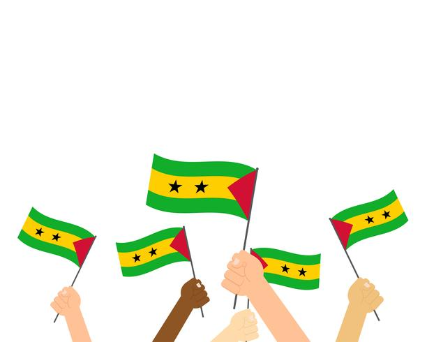 Ilustração em vetor de mãos segurando bandeiras de São Tomé e Príncipe, isoladas no fundo branco