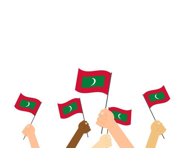 Vetorial, ilustração, de, mãos, segurando, maldives, bandeiras, isolado, branco, fundo vetor