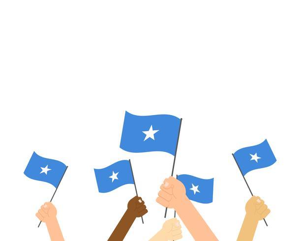 Ilustração em vetor de mãos segurando bandeiras da Somália isoladas no fundo branco