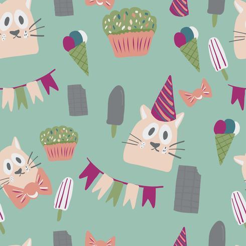 design de cartões de feliz aniversário com sorvete vetor