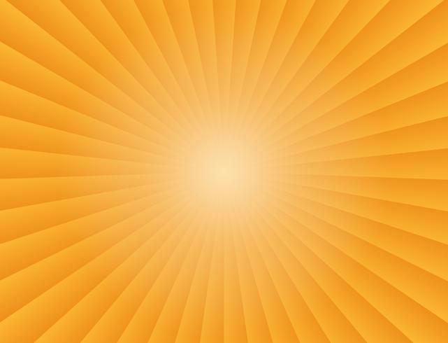 Raios de gradiente de raios de sol abstratos em fundo laranja - ilustração vetorial vetor
