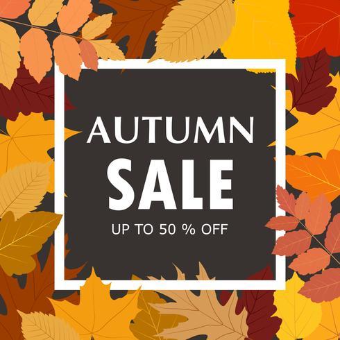 Modelo de banner de venda outono com Outono colorido deixa o fundo vetor