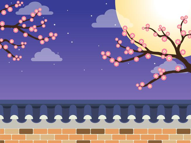 Mid Autumn Festival (Chuseok) - Cerca de parede de pedra estilo coreano com ácer e lua cheia em fundo vetor