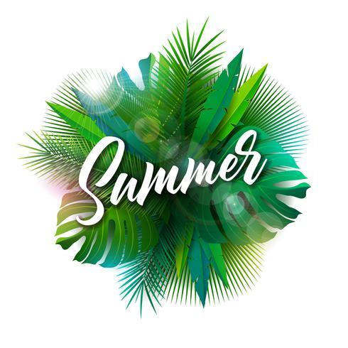 Ilustração do verão com letra da tipografia e plantas tropicais no fundo branco. Vector Design de férias com folhas de palmeira exóticas e Phylodendron