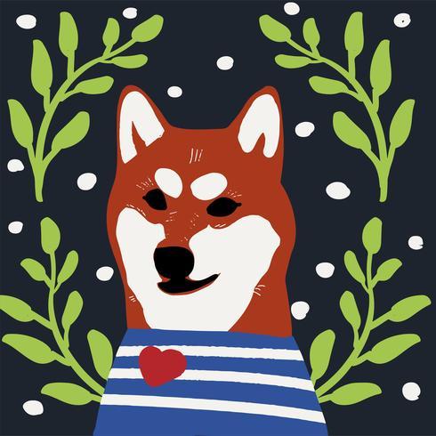 Cão kawaii de shiba inu raça Cartoon vetor de estilo
