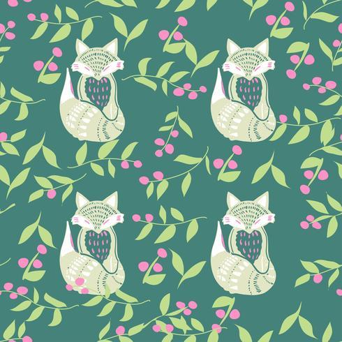 Scandinaviat folk art com raposa, estilo nórdico blockprint imitação vetor