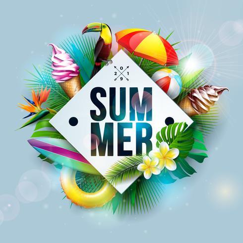 Vector a ilustração das férias de verão com flor e folhas de palmeira tropicais no fundo do azul de oceano. Pássaro Tucano e Sorvete