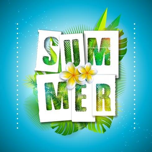 Vector a ilustração das férias de verão com letra da tipografia e folhas de palmeira tropicais no fundo do azul de oceano. Plantas exóticas e flor