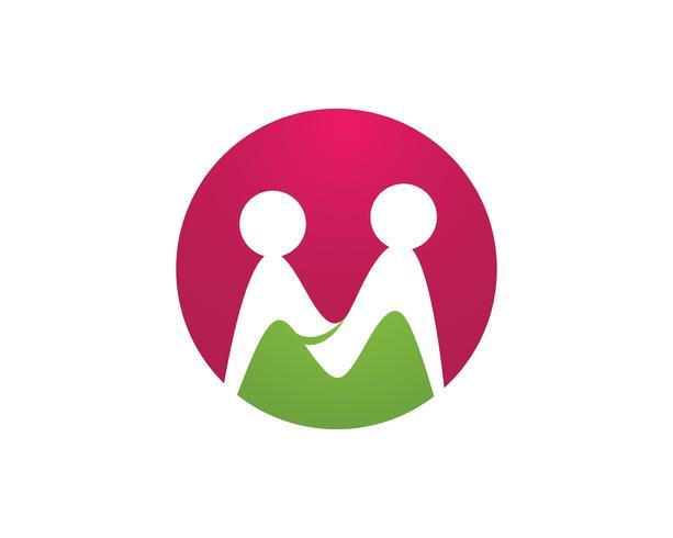 Sinal de logotipo de caráter humano, logotipo de cuidados de saúde. Sinal do logotipo da natureza. Sinal verde do logotipo da vida, vetor