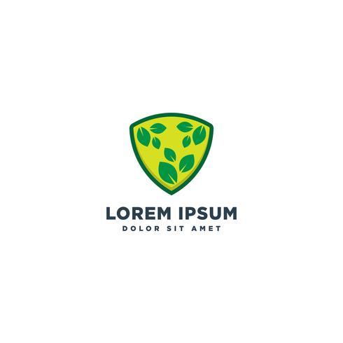 escudo de natureza eco logotipo modelo vector ilustração ícone elemento