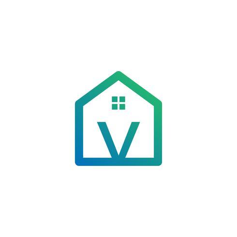 letra v arquiteto, casa, modelo de logotipo criativo de construção vetor