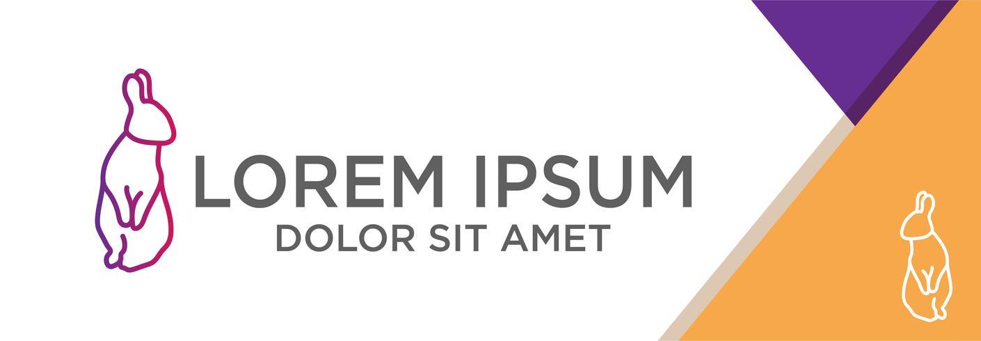modelo de logotipo de coelho com o conceito de design plano com ilustração vetorial de fundo abstrato, uso pronto para banner, página de destino, folheto. vetor