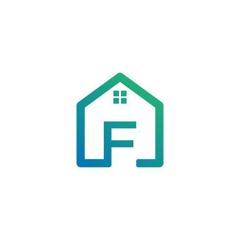 letra f arquiteto, modelo de logotipo criativo de casa, construção vetor