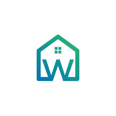 letra w arquiteto, casa, modelo de logotipo criativo de construção vetor
