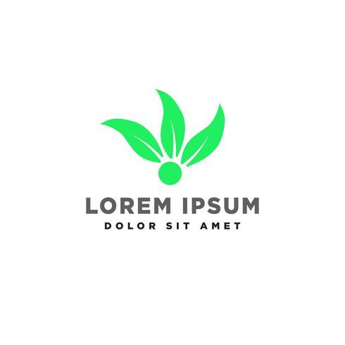 ilustração em vetor folha verde eco logotipo criativo modelo