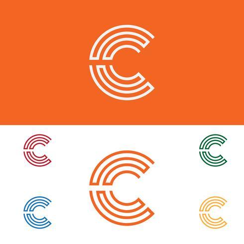 Carta C conjunto logotipo modelo vector ilustração uso pronto para tecnologia