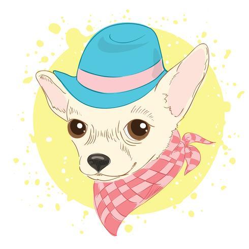 Entregue a ilustração desenhada do vetor do cão do moderno para cartões, cópia do t-shirt, cartaz. Forme o retrato do chapéu e do lenço vestindo do cão da chihuahua.
