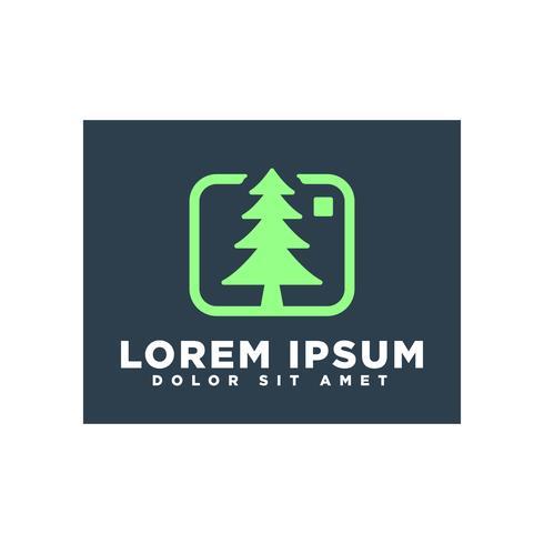 Paisagem ou árvore natureza fotografia logotipo modelo vector isolado
