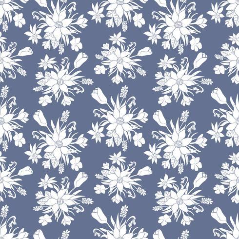 Teste padrão sem emenda do vetor monocromático com flores da mola. Patten floral.