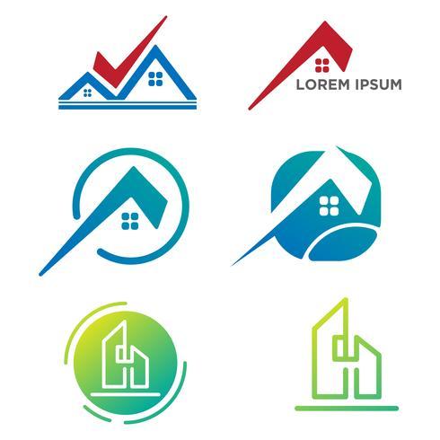 arquiteto, construir, logotipo criativo conjunto modelo isolado elementos do vetor