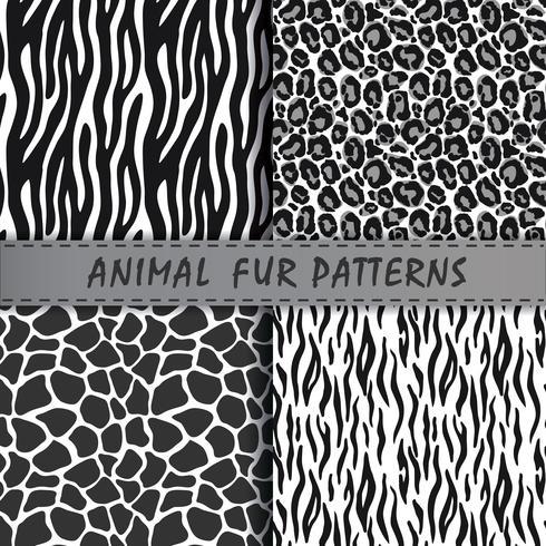 Testes padrões sem emenda do vetor ajustados com textura da pele animal. Repetindo fundos de animais para design têxtil, scrapbooking, papel de embrulho. Estampas de animais de vetor.