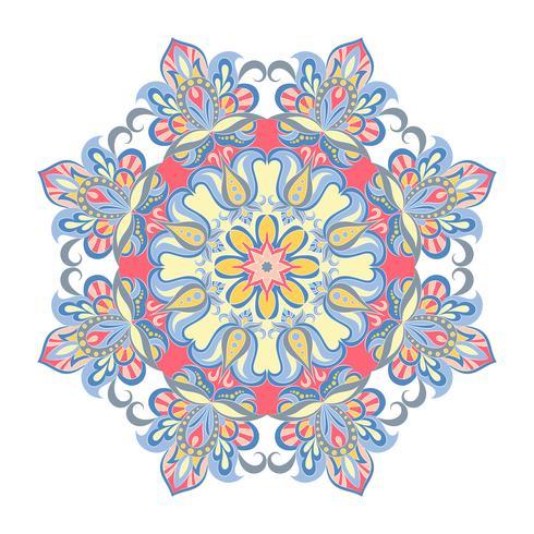 Ornamento de mandala de vetor. Elementos decorativos vintage. Padrão redondo Oriental. Islã, árabe, indiano, turco, paquistão, chinês, motivos otomanos. vetor