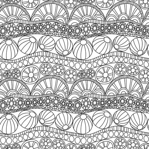 Doodle ornamento sem costura abstrata. Página para colorir enfeite de doodle. Monocromático padrão sem emenda para colorir. Padrão de doodle monocromática têxtil. Repetindo o doodle abstrato. vetor