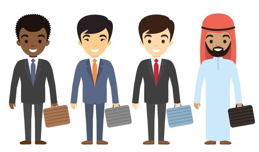 Personagens de empresários de diferentes etnias em estilo simples. vetor