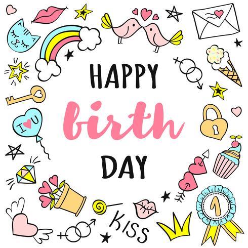 Letras de feliz aniversário com rabiscos femininos para cartão ou cartazes. vetor