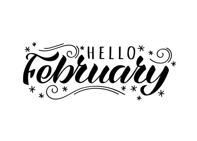 Olá fevereiro mão desenhada letras cartão com flocos de neve doodle. Inspiradora citação de inverno. Impressão motivacional para convite ou cartões, folhetos, cartaz, t-shirts, canecas. vetor
