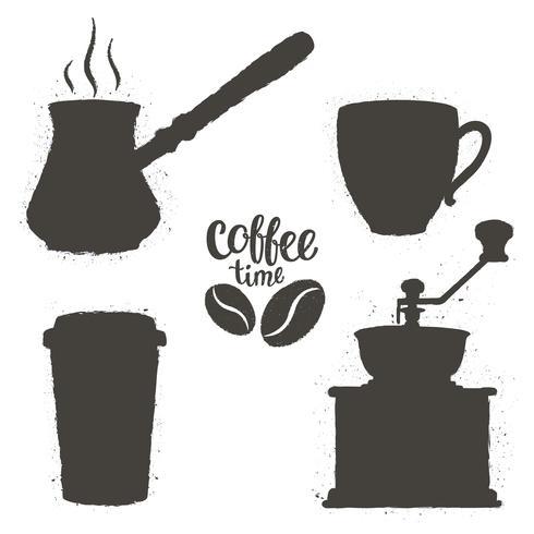 Conjunto de objetos de café vintage. Silhuetas de xícaras de café, moedor, pote com logotipo de feijão e letras. Coleção de hora do café. vetor