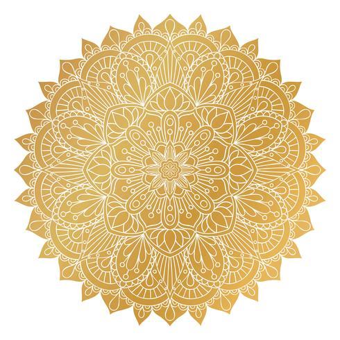 Ornamento de Mandala dourada de vetor. Elementos decorativos vintage. Padrão redondo Oriental. Islã, árabe, indiano, turco, paquistão, chinês, motivos otomanos. Fundo floral desenhado de mão. vetor