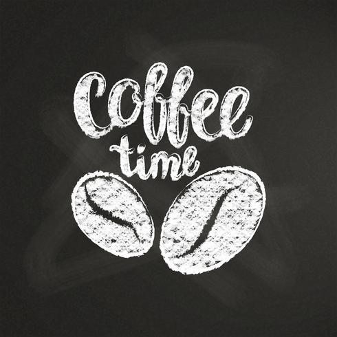 Giz texturizado lettering tempo de café com grãos de café e no quadro negro. Citação manuscrita para bebida e bebida menu ou café tema, cartaz, impressão de t-shirt, logotipo. vetor