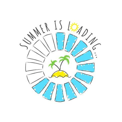 Barra de progresso redondo com inscrição - carregamento de verão e as palmas das mãos na praia em estilo esboçado. Ilustração vetorial para design de t-shirt, cartaz ou cartão. vetor
