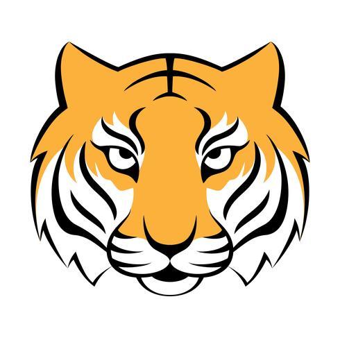 Ícone de tigre. Ilustração vetorial para design de logotipo, impressão de t-shirt. Mascote do tigre. vetor