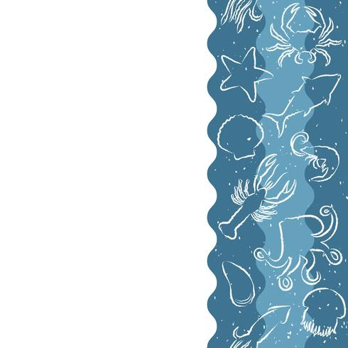 Padrão de repetição vertical com produtos de frutos do mar. Banner sem emenda de frutos do mar com animais de contorno subaquático. Projeto da telha para o menu do restaurante, a indústria alimentar de peixes ou a loja do mercado. vetor