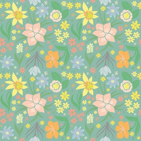 Padrão sem emenda com flores da primavera. vetor