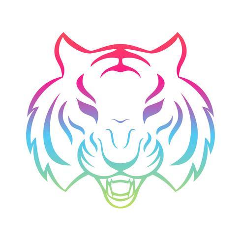 Ícone de tigre isolado em um fundo branco. Modelo de logotipo de tigre, tatuagem desenho, impressão de t-shirt. vetor