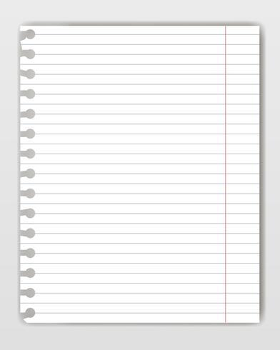 Folha do livro da cópia alinhada em branco com borda rasgada. Maquete ou modelo de página de bloco de notas do gráfico para texto yor. vetor