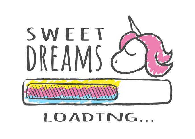 Barra de progresso com inscrição - Sweet Dreams carregando e unicórnio em estilo esboçado. Ilustração vetorial para design de t-shirt, cartaz ou cartão. vetor