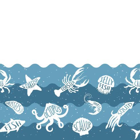 Padrão de repetição horizontal com produtos de frutos do mar. Banner sem emenda de frutos do mar com animais debaixo d'água. Projeto da telha para o restaurante, a indústria alimentar de peixes ou a loja do mercado. vetor