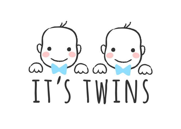 Vector esboçou ilustração com rostos de bebê menino e inscrição - é gêmeos - para cartão do chuveiro de bebê, impressão de t-shirt ou cartaz.
