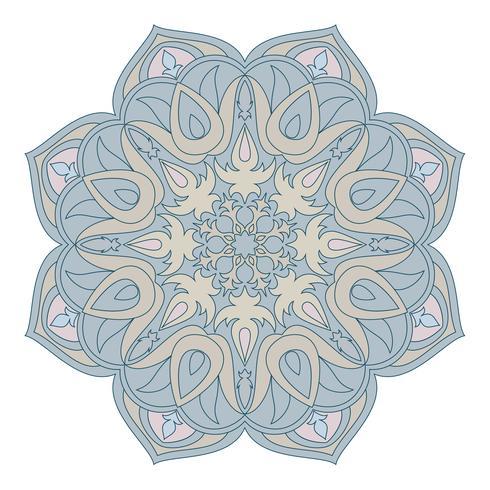 Mandala de vetor. Elemento decorativo Oriental. Islã, árabe, indiano, turco, paquistão, chinês, motivos otomanos. Elementos de design étnico. Mandala desenhada de mão. Símbolo de mandala colorida para seu projeto. vetor