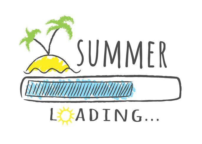 Barra de progresso com inscrição - carregamento de verão e as palmas das mãos na praia em estilo esboçado. Ilustração vetorial para design de t-shirt, cartaz ou cartão. vetor