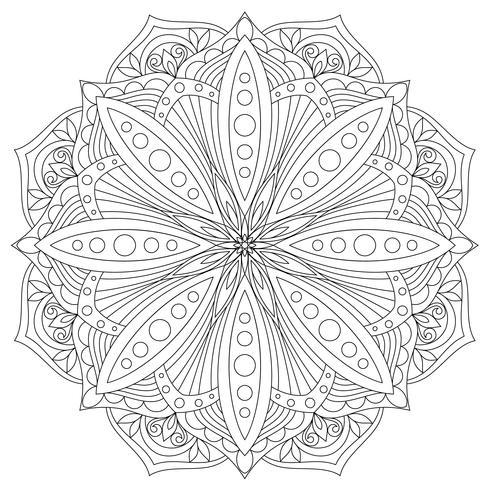 Mandala de vetor. Elemento decorativo oriental desenhado de mão. Elemento de design étnico. vetor