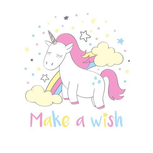 Unicórnio fofo mágica em estilo cartoon com letras de mão Faça um desejo. O unicórnio do Doodle com arco-íris e nuvens vector a ilustração para cartões, cartazes, caçoa cópias do t-shirt, projeto de matéria têxtil.