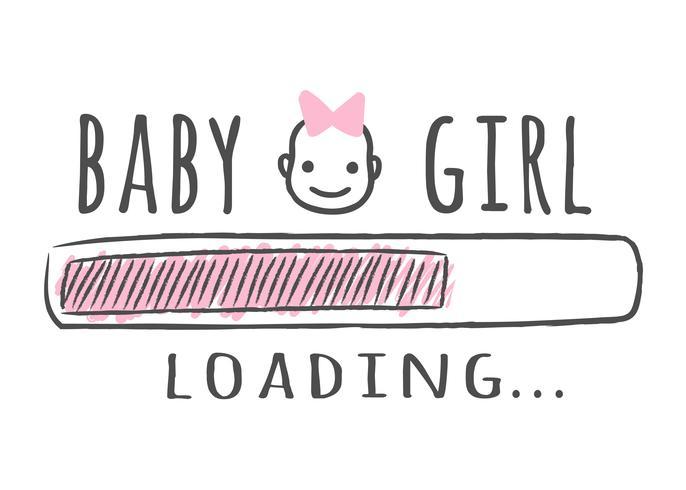 Barra de progresso com inscrição - menina está carregando e garoto cara no estilo esboçado. Ilustração vetorial para design de t-shirt, cartaz, cartão, decoração de chá de bebê vetor